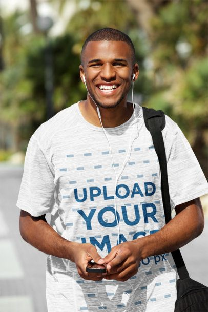 Mockup of a Happy Young Man Wearing a Loose T-Shirt 38924-r-el2
