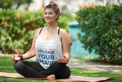 Tank Top Mockup of a Woman Meditating in a Natural Setting 38359-r-el2