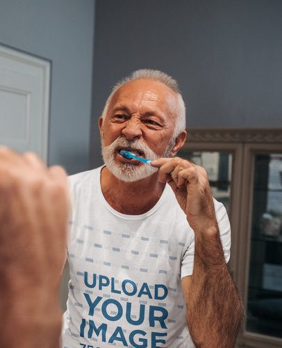 T-Shirt Mockup of a Senior Man Brushing His Teeth 39164-r-el2