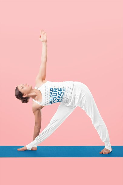 Tank Top Mockup of a Woman Doing a Side Bend at a Studio 38447-r-el2