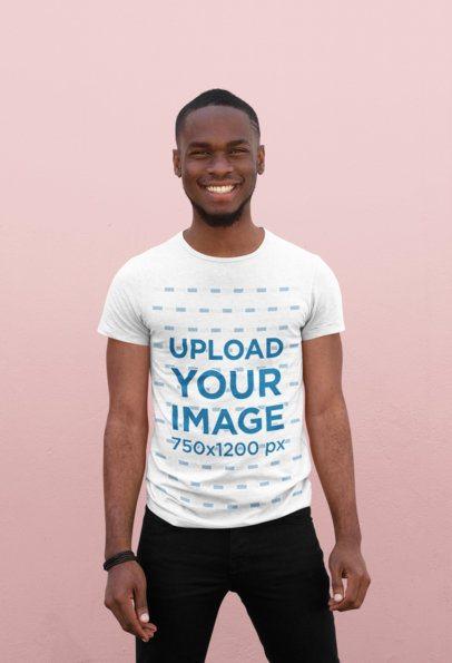 Mockup of a Happy Young Man Wearing a T-Shirt 38929-r-el2