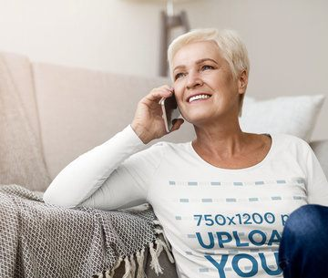 Long Sleeve Tee Mockup of a Senior Woman on the Phone 39270-r-el2