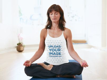 Heathered Tank Top Mockup Featuring a Woman Meditating 38352-r-el2