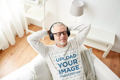 Sweatshirt Mockup of a Senior Man Listening to Music in the Living Room 39133-r-el2