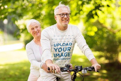 Sweatshirt Mockup Featuring a Senior Couple Biking 39130-r-el2