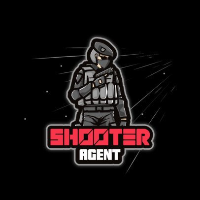 Gaming Logo Template Featuring Shooter Character Graphics 2123-el1