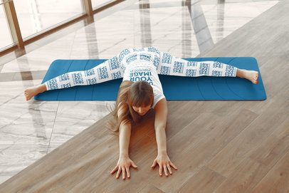 T-Shirt and Leggings Mockup of a Woman Stretching Before a Workout 38397-r-el2