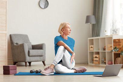 Leggings Mockup of a Senior Woman Taking an Online Workout Class 38420-r-el2