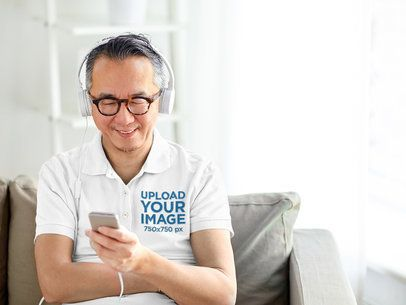 Polo Shirt Mockup Featuring an Elderly Man with Headphones 39134-r-el2