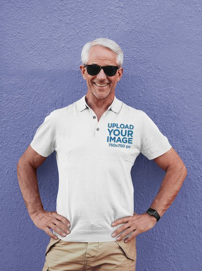 Polo Shirt Mockup of a Senior Man Posing 39126-r-el2