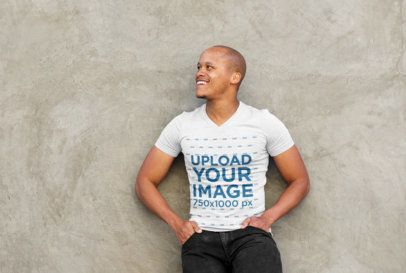 V-Neck T-Shirt Mockup Featuring a Happy Man 38933-r-el2