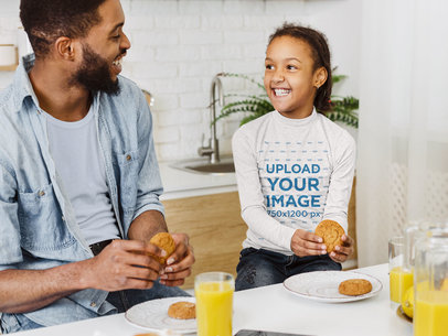 Long Sleeve Tee Mockup Featuring a Girl Eating Cookies With Her Father 39219-r-el2