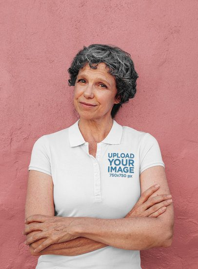 Polo Shirt Mockup of a Woman Posing with Crossed Arms 39106-r-el2