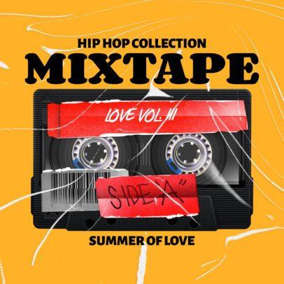 Album Cover Design Template with Cassette Tape Graphics 2713