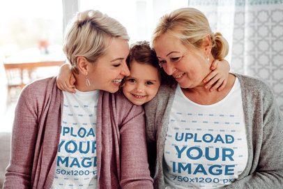 T-Shirt Mockup of a Three-Generation Family Hugging at Home 39090-r-el2