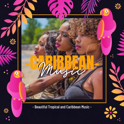 Summer-Style Instagram Post Maker for Tropical Music Promo 2719c
