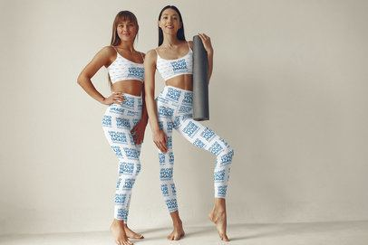 Sports Bra and Leggings Mockup Featuring Two Women and a White Background 38400-r-el2
