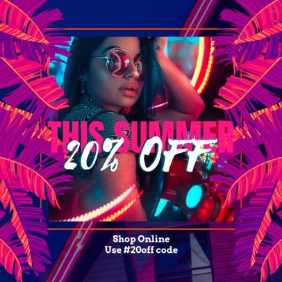 Neon-Theme Instagram Post Creator for a Summer Sale 2719h