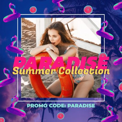 Instagram Post Template to Promote a Summer Collection Featuring Neon Graphics 2719j