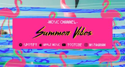 Summery Twitch Banner Template for a Music Channel with Flamingo Graphics 2721i