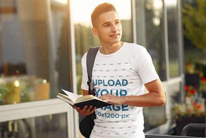 Mockup of a Student Wearing a Round Neck Tee at a Campus 39175-r-el2
