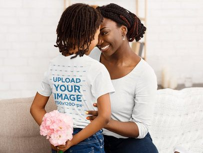 T-Shirt Mockup of a Little Girl Surprising Her Mom with Flowers 39236-r-el2