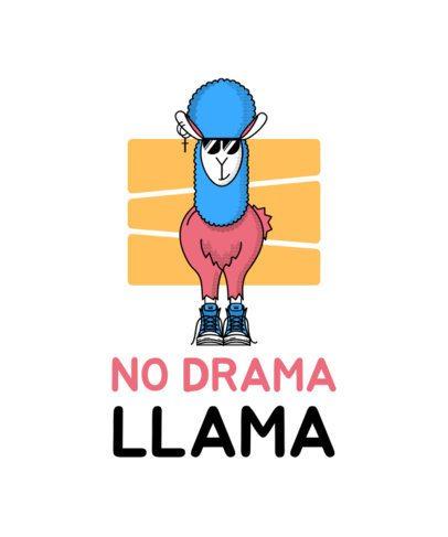 T-Shirt Design Maker Featuring Funny Illustrations of Llamas 2175-el1
