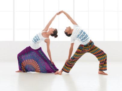Tank Top Mockup of a Woman Doing Yoga with a Man Wearing a T-Shirt 38345-r-el2
