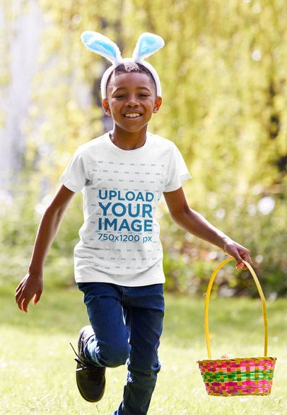 T-Shirt Mockup of a Little Kid Having Fun at an Easter Celebration 38854r-el2