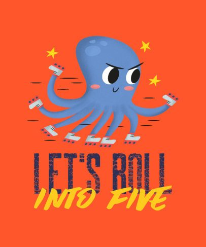 T-Shirt Design Templates with an Illustration of an Octopus 2717e
