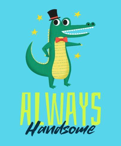 Kids T-Shirt Design Template of an Elegant Crocodile 2717g