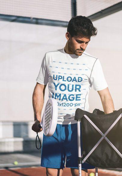 T-Shirt Mockup of a Tennis Player Training 37974-r-el2