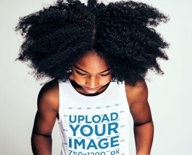 Tank Top Mockup of a Little Girl with a Big Mane of Curly Hair 39247-r-el2