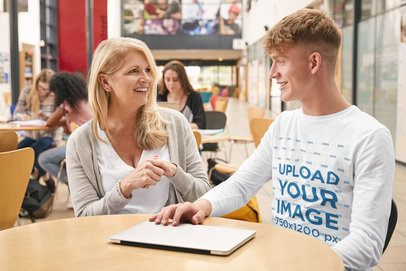 Long Sleeve Tee Mockup of a Student and His Teacher at a School Library 39182-r-el2