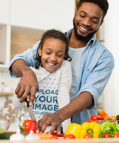 Heather Long Sleeve Tee Mockup of a Girl Cooking With Her Father 39216-r-el2
