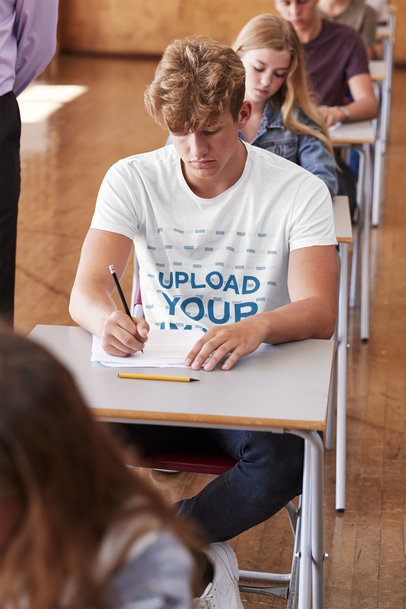 T-Shirt Mockup of a Student Taking a Test at College 39089-r-el2