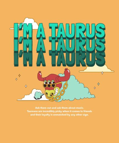 Illustrated T-Shirt Design Creator Featuring a Taurus Cartoon 2723a