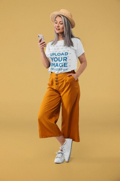 T-Shirt Mockup of a Woman in a Trendy Outfit 39144-r-el2