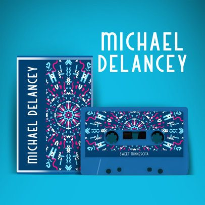 Album Cover Template Featuring Cassettes with Retro Patterns 2712b