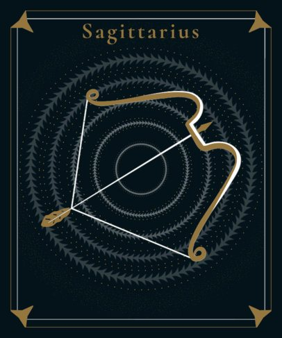 Sagittarius T-Shirt Design Maker Featuring a Bow and Arrow 2722m