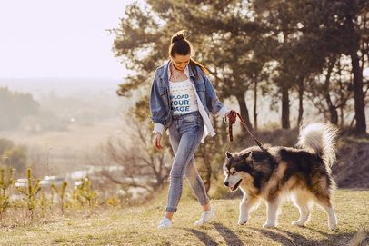 Tank Top Mockup Featuring a Happy Woman with a Dog 39430-r-el2