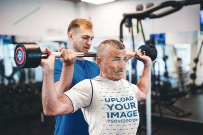 T-Shirt Mockup of a Senior Man Training at the Gym 39612-r-el2
