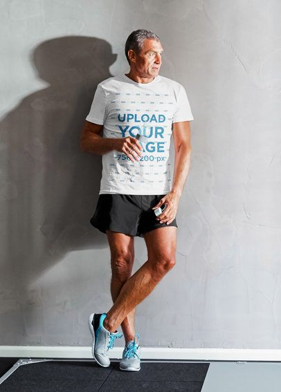 T-Shirt Mockup of a Senior Man Resting During His Workout 39479-r-el2
