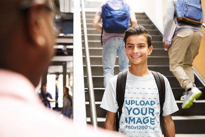 T-Shirt Mockup of a Teenage Boy at School 39093-r-el2