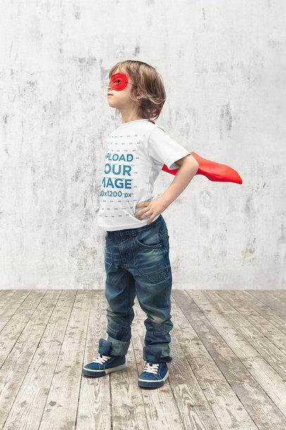 T-Shirt Mockup of a Kid Posing Like a Superhero 39399-r-el2