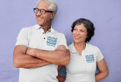 Mockup of a Senior Couple Wearing Polo Shirts 39151-r-el2