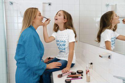 T-Shirt Mockup of a Little Girl Applying Make up to Her Mom 39403-r-el2