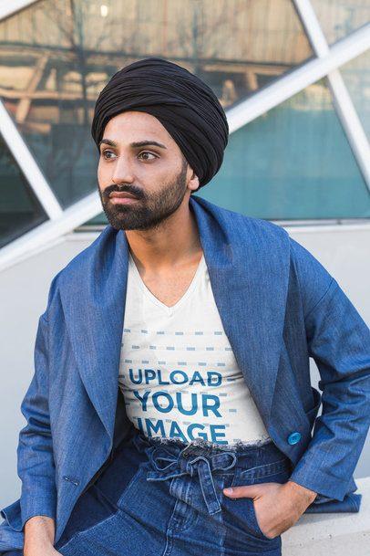V-Neck Tee Mockup of a Bearded Man Sitting Outside 39529-r-el2