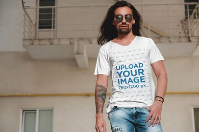 V-Neck Tee Mockup of a Long-Haired Man Posing with Sunglasses 38034r-el2