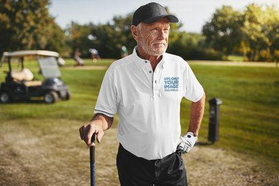 Polo Shirt Mockup Featuring a Man Playing Golf 39483-r-el2